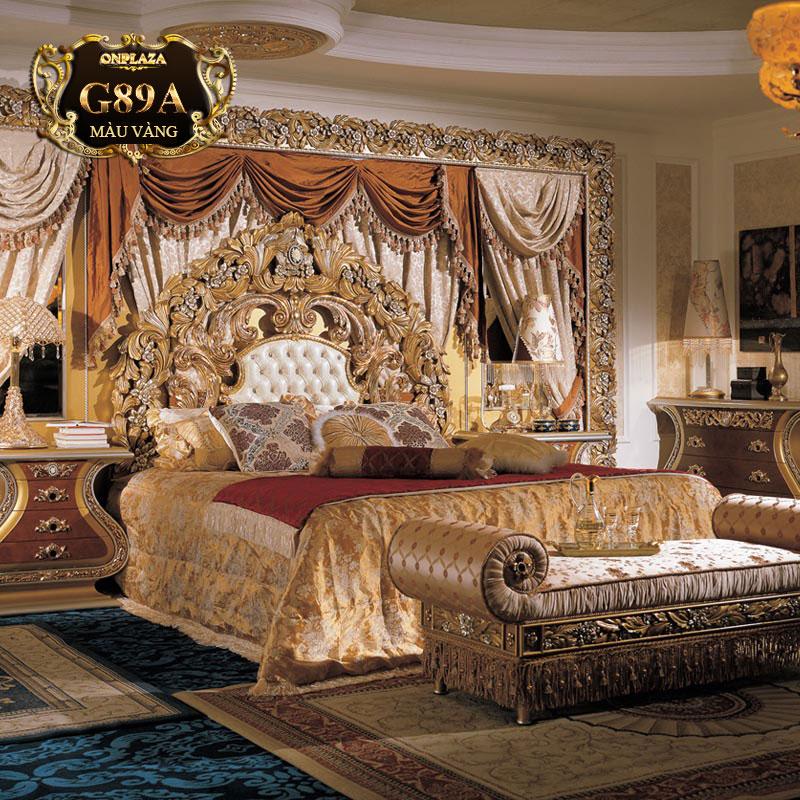 Bộ giường ngủ sang trọng chạm khắc tinh xảo (giường+tab giường) G89A