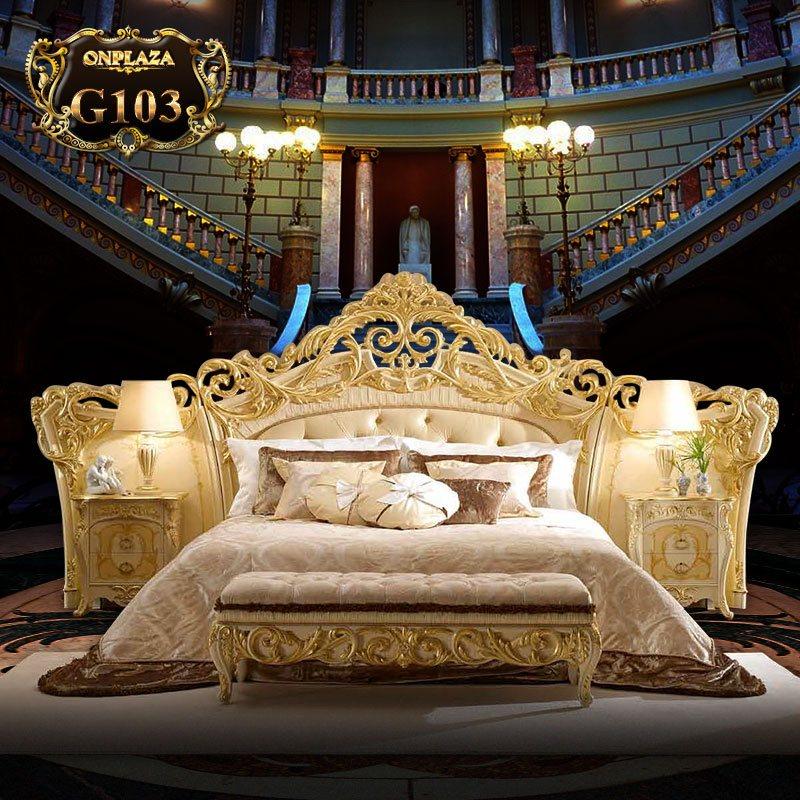 Bộ giường ngủ tân cổ điển chạm khắc hoa văn (giường+tab giường) G103