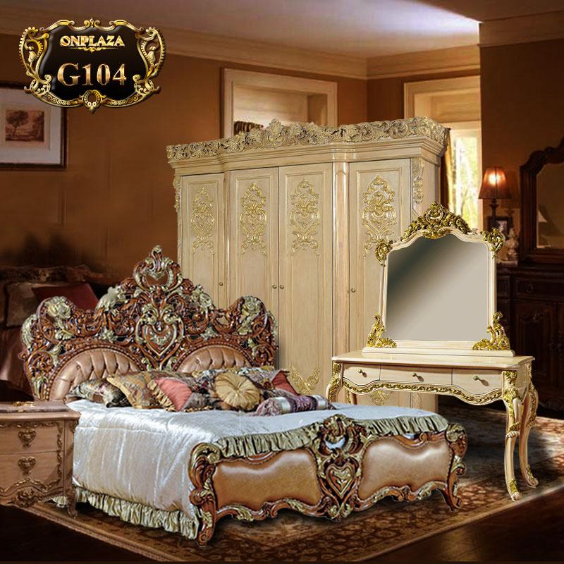 Bộ giường ngủ tân cổ điển chạm khắc hoa văn (giường+tab giường) G104