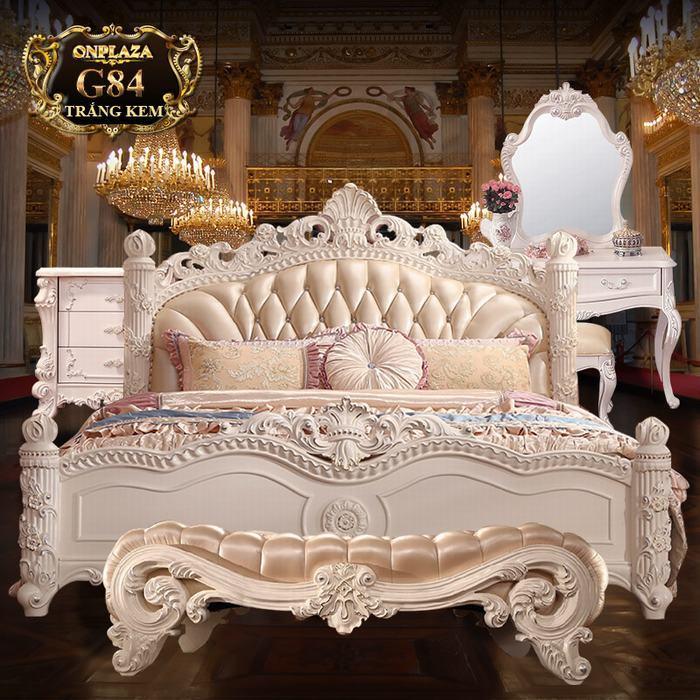 Bộ phòng ngủ tân cổ điển trắng lãng mạn cao cấp G84
