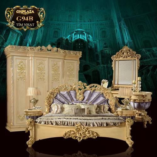Bộ giường ngủ cổ điển cao cấp chạm khắc hoa văn G94B
