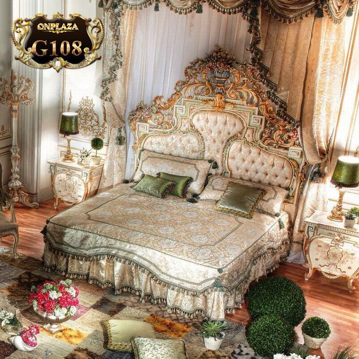 Bộ giường ngủ tân cổ điển phong cách hoàng gia sang trọng G108