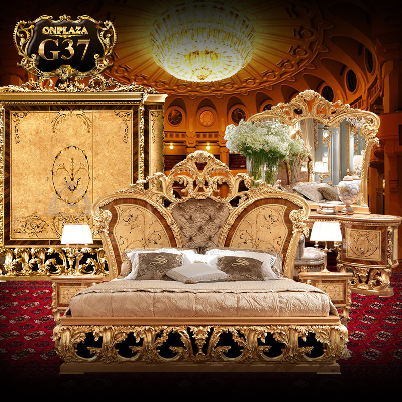 Bộ giường ngủ tân cổ điển phong cách hoàng gia sang trọng G37