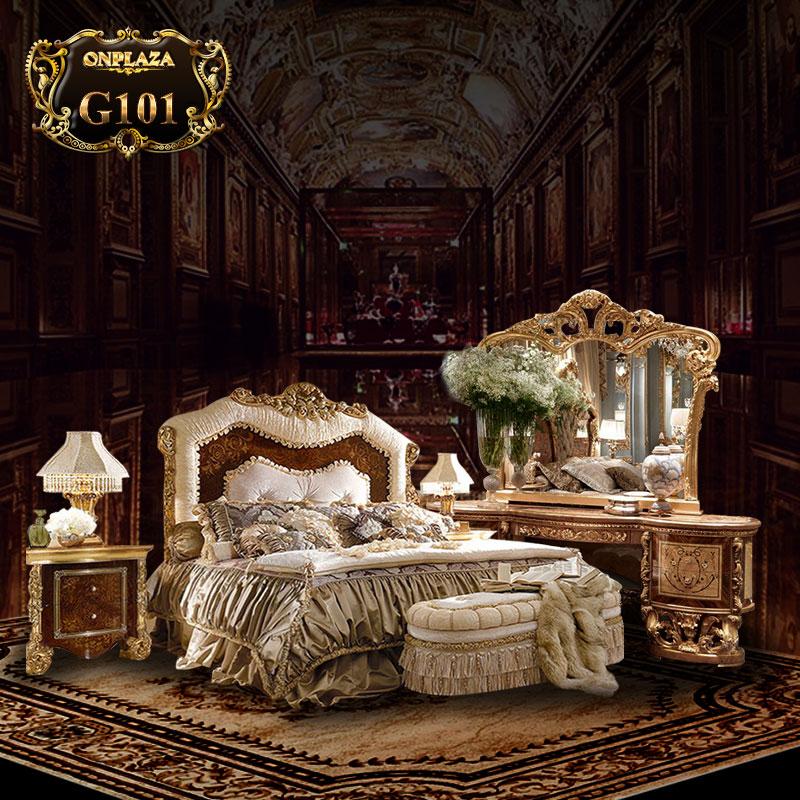 Bộ giường ngủ hoàng gia chạm khắc hoa văn sang trọng G101
