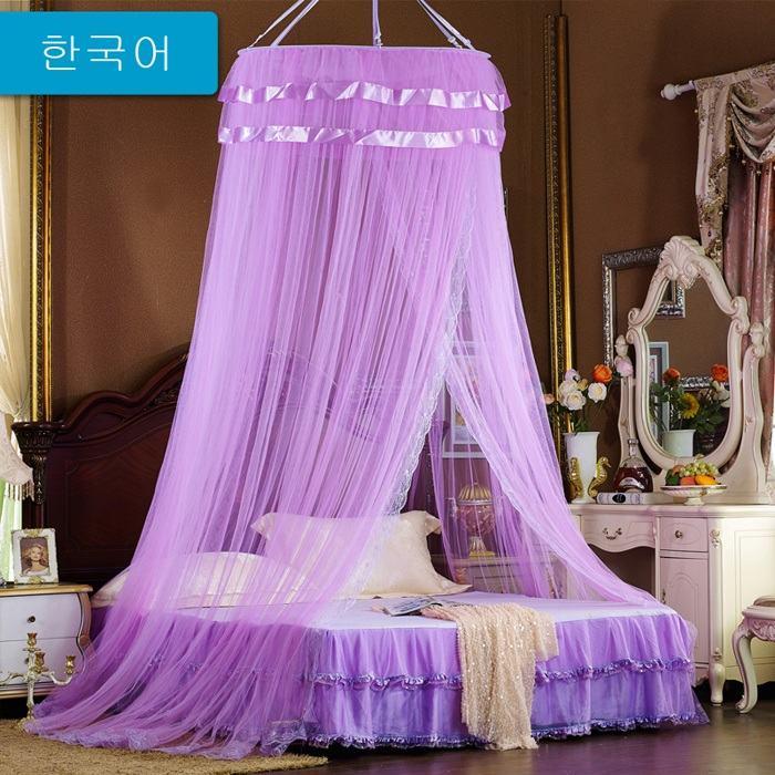 Bộ màn khung tròn ren công chúa màu tím quyến rũ KM102