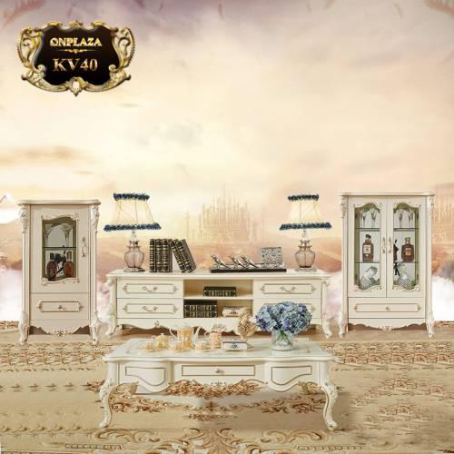 Bộ kệ tủ tivi bàn trà phòng khách tân cổ điển cao cấp KV40