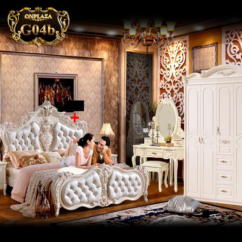Giường ngủ gỗ bọc da đầu giường tân cổ điển châu âu G04
