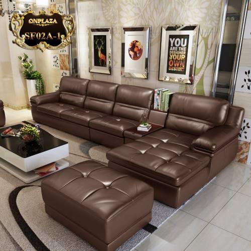 Bộ ghế sofa da hiện đại 3 băng góc trái SF02
