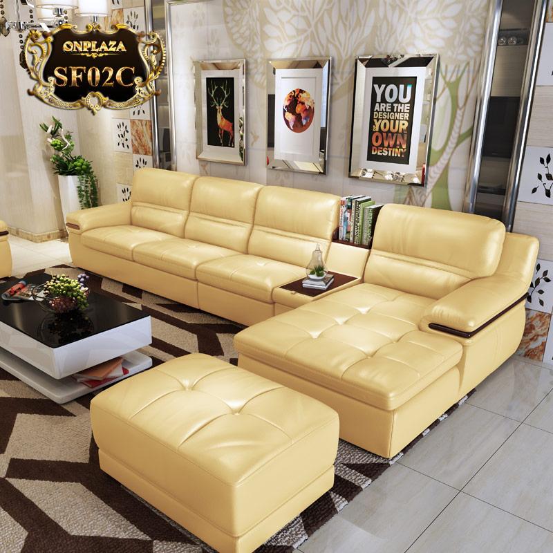 Bộ bàn ghế phòng khách đẹp nhập khẩu SF02C màu vàng
