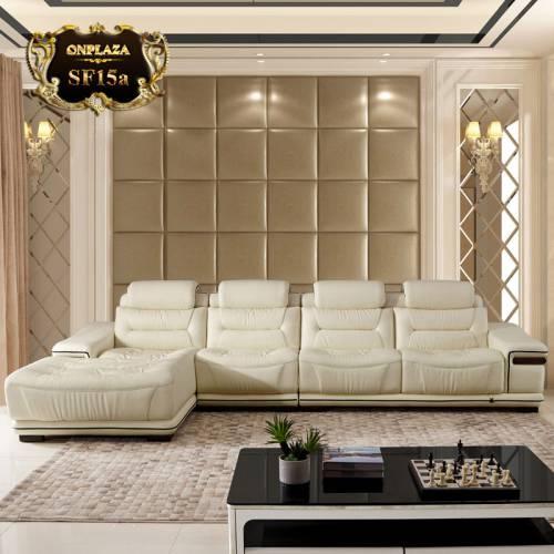 Bộ sofa da nhập khẩu cao cấp sắc kem trang nhã SF15
