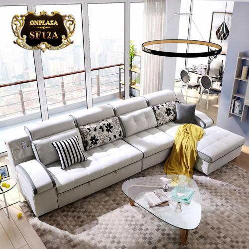 Bộ sofa phòng khách phong cách châu âu thời thượng SF12 (Màu xám)