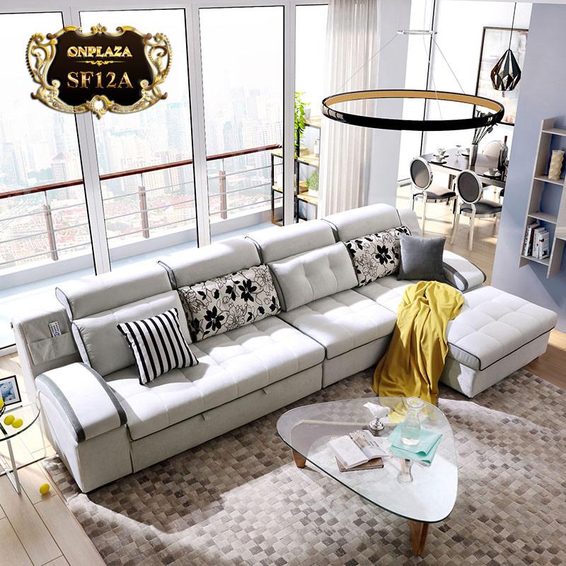 Bộ sofa phòng khách phong cách hiện đại châu âu SF12 (Màu xám)