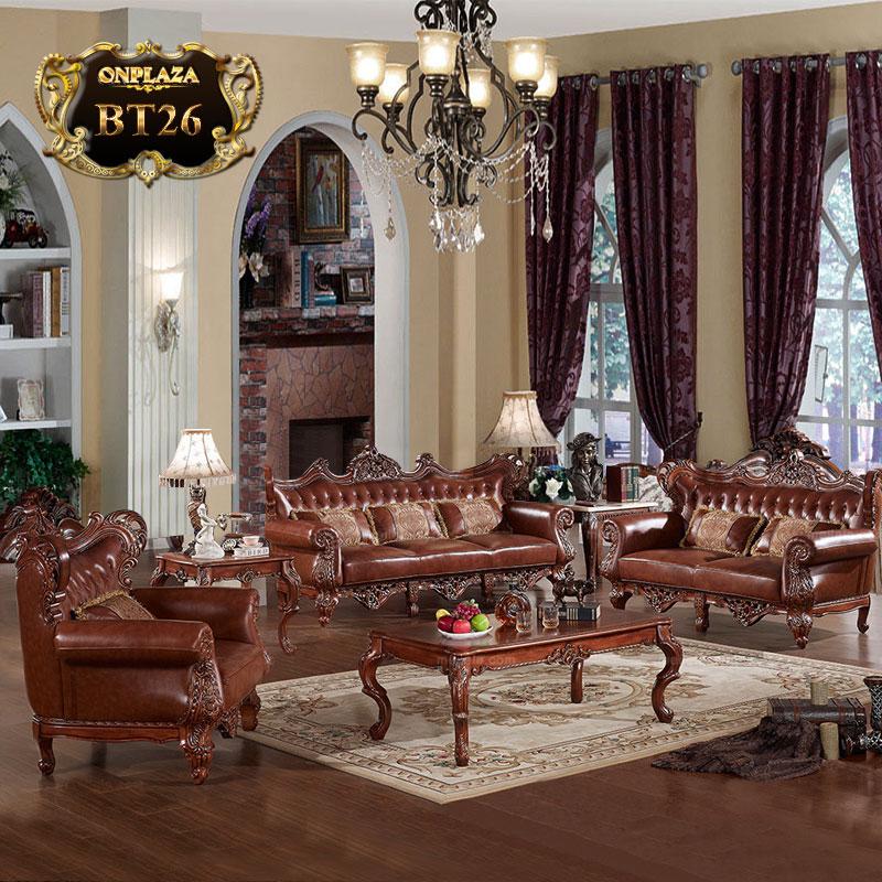 Bộ sưu tập bàn ghế bọc da tân cổ điển Pháp BT26