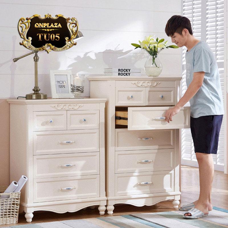 Bộ tủ ngăn kéo đựng đồ chạm hoa văn sắc trắng trang nhã TU05