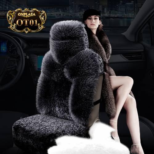 Bọc ghế lông cừu 100% nhập khẩu cao cấp cho ô tô OT01 (Màu đen)