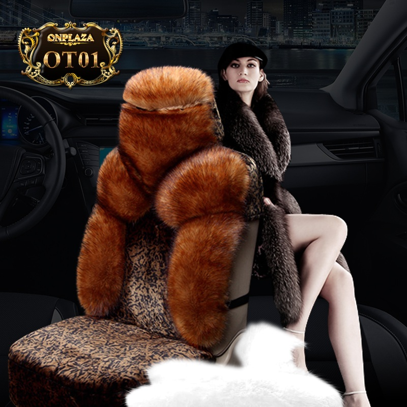 Bọc ghế lông cừu 100% kiểu dáng đẹp OT01 (Màu nâu)