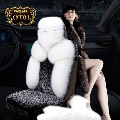 Bọc ghế lông cừu OT01 (Xám trắng)