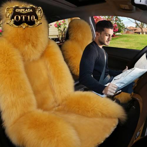 Bọc ghế lông cừu nhập khẩu cao cấp cho ô tô OT10 (Màu vàng)