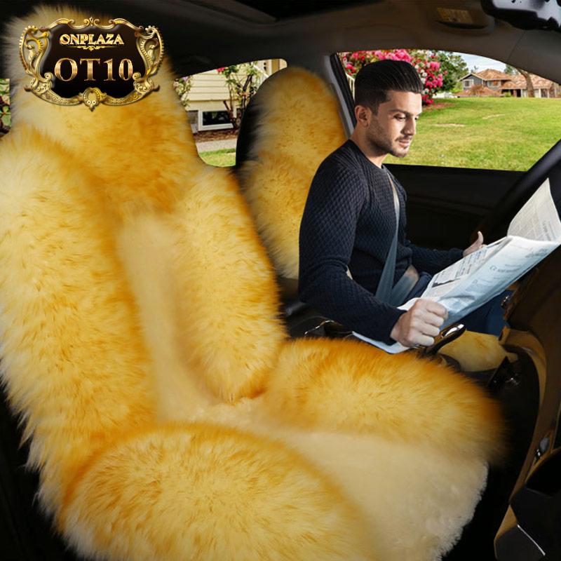 Bọc ghế lông cừu xe hơi OT10 (Vàng kem)