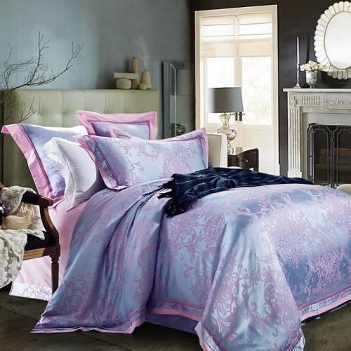 Bộ chăn ga gối đẹp họa tiết cổ điển màu hồng xanh CG095