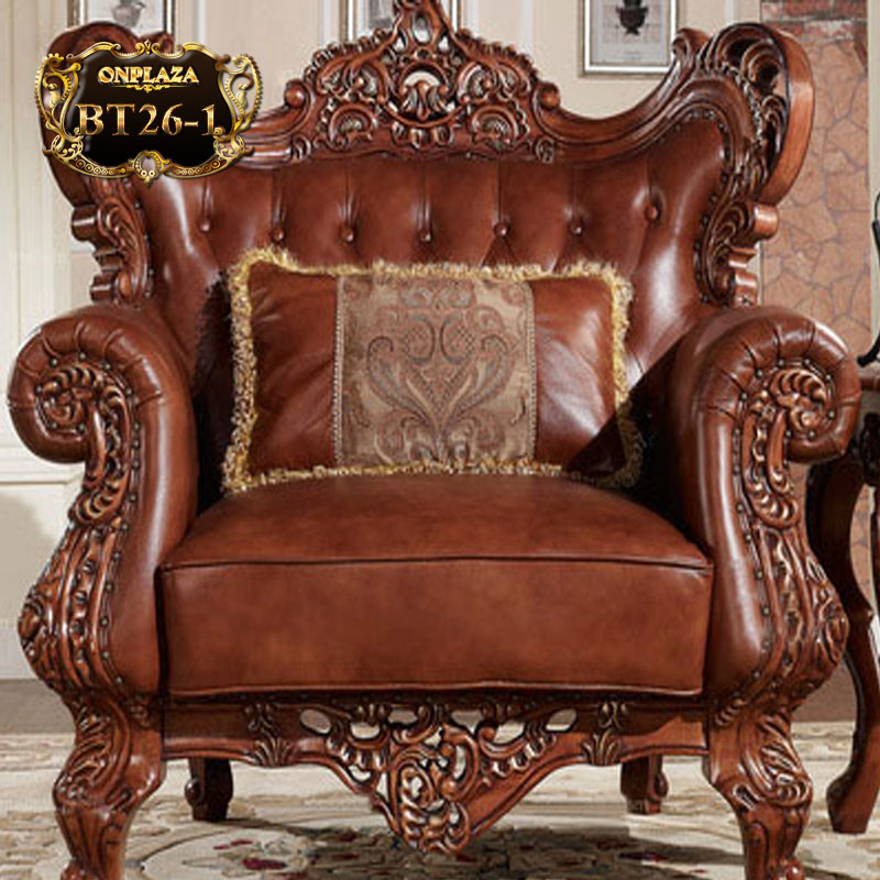 bộ sưu tập bàn ghế bọc da da cổ điển Pháp chạm khắc cao cấp BT26