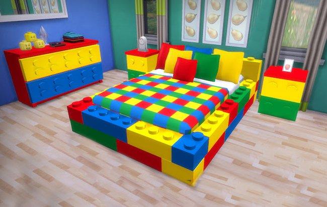Giường ngủ cho bé tạo hình khối lego lắp ghép