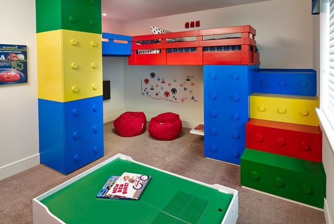 Thiết kế giường kiểu lego lắp ghép đầy màu sắc