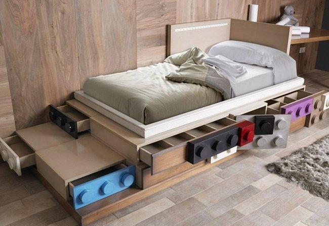 giường cho bé hình khối lego lắp ghép