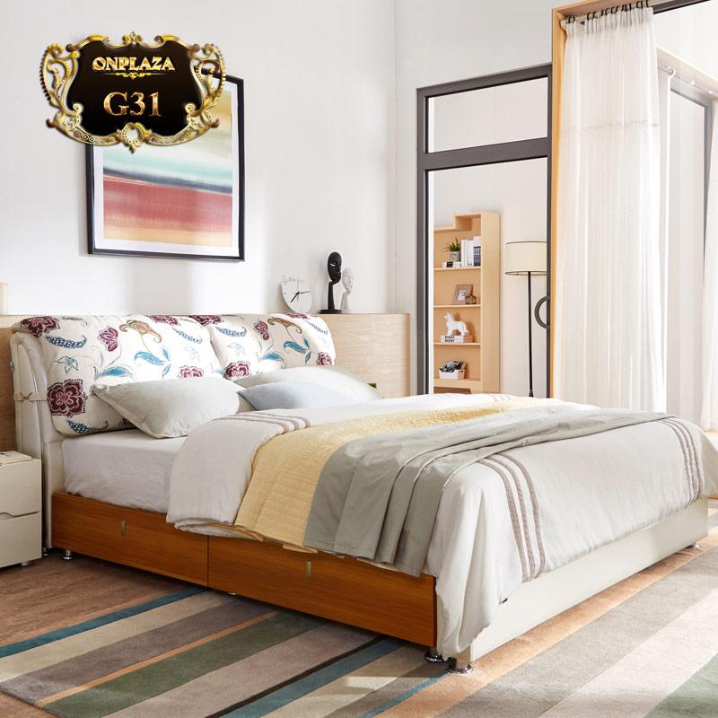 Giường ngủ gỗ có ngăn kéo bọc da đầu giường hiện đại G31
