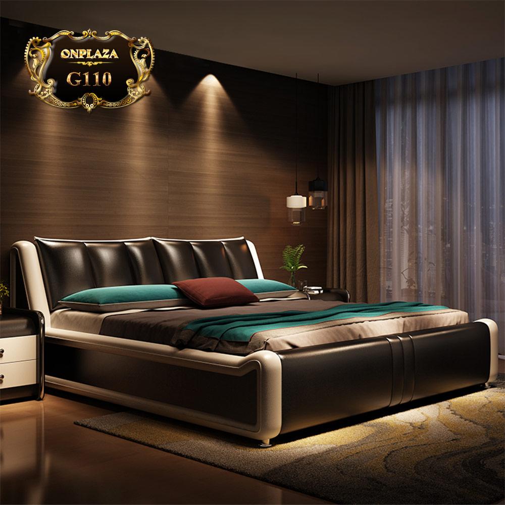 Bộ giường ngủ bọc da cao cấp hiện đại G110