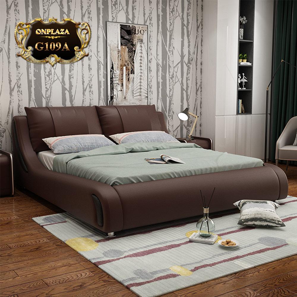 Bộ giường ngủ bọc da cao cấp hiện đại G109A (Màu nâu)