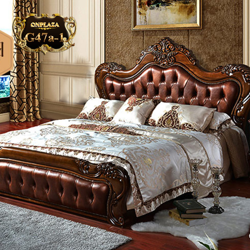 Giường ngủ bọc da G47 cổ điển màu nâu phái mạnh