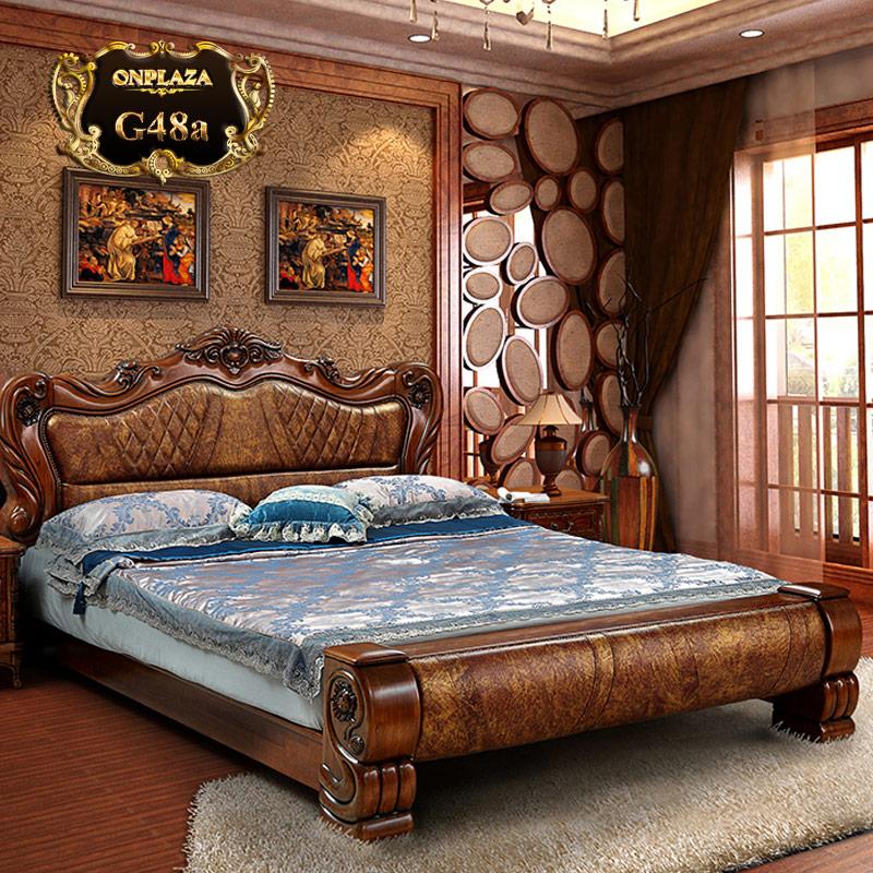 Giường ngủ bọc da cao cấp khắc gỗ cổ điển sang trọng G48