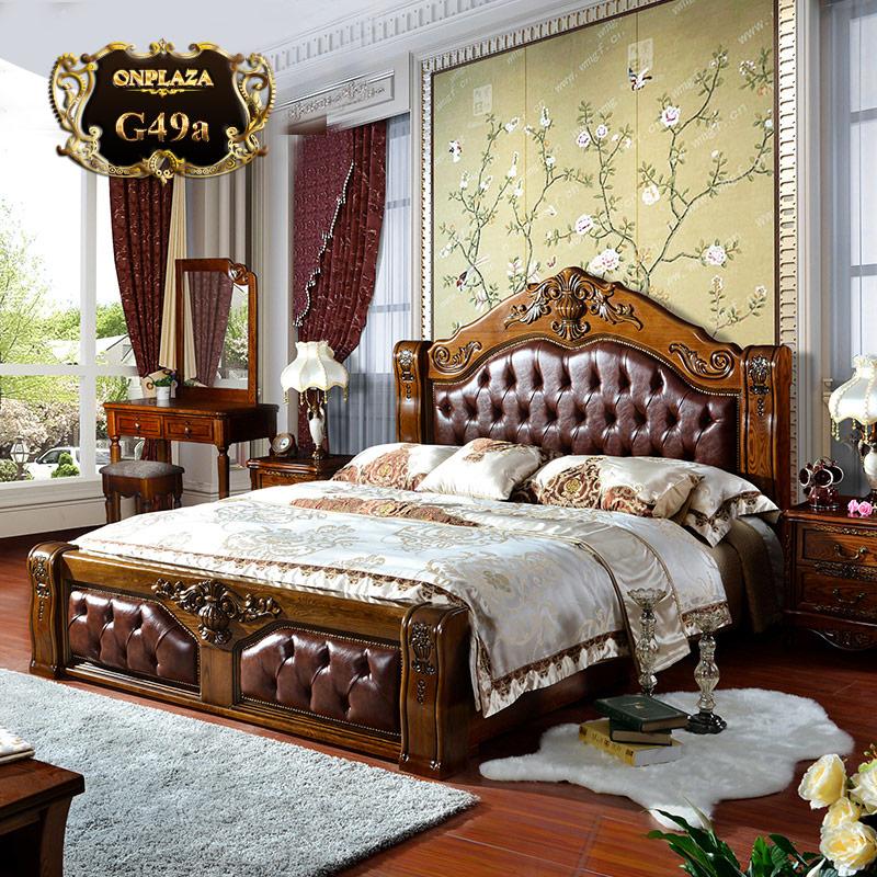 Giường gỗ cổ điển bọc da đầu và cuối giường G49