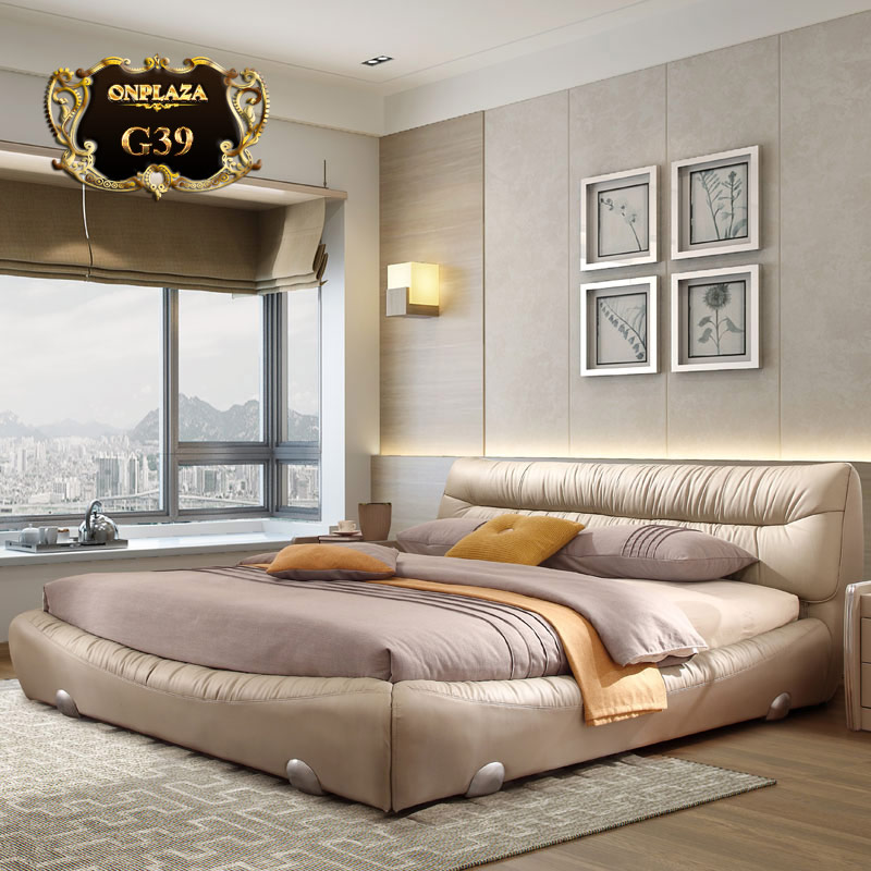 Giường ngủ bọc da hiện đại cho phòng ngủ sang trọng G39