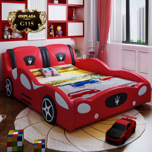 Giường ngủ bọc da dáng xe thể thao cho bé G115