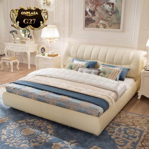 Giường ngủ bọc nệm da hiện đại sắc trắng tinh tế G27