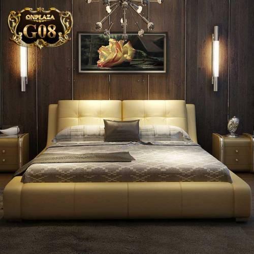 Bộ giường ngủ hiện đại bọc da sang trọng cao cấp châu âu G08