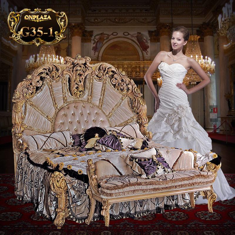 Giường ngủ cao cấp phong cách hoàng gia Ý sang trọng G35-1