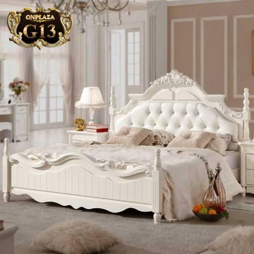 Giường ngủ cao cấp phong cách tân cổ điển màu trắng đơn giản đường cong tinh tế G13; Giá: 21.835.550.000 VNĐ