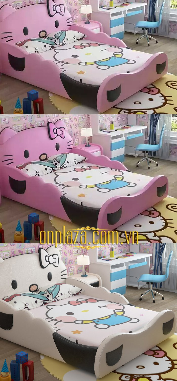 Giường ngủ cho bé đẹp cao cấp hình chú mèo hello kitty 3