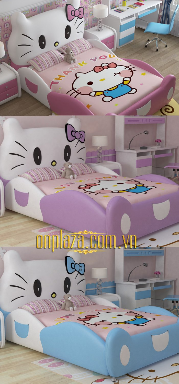 Giường ngủ cho bé đẹp cao cấp hình chú mèo hello kitty 4a