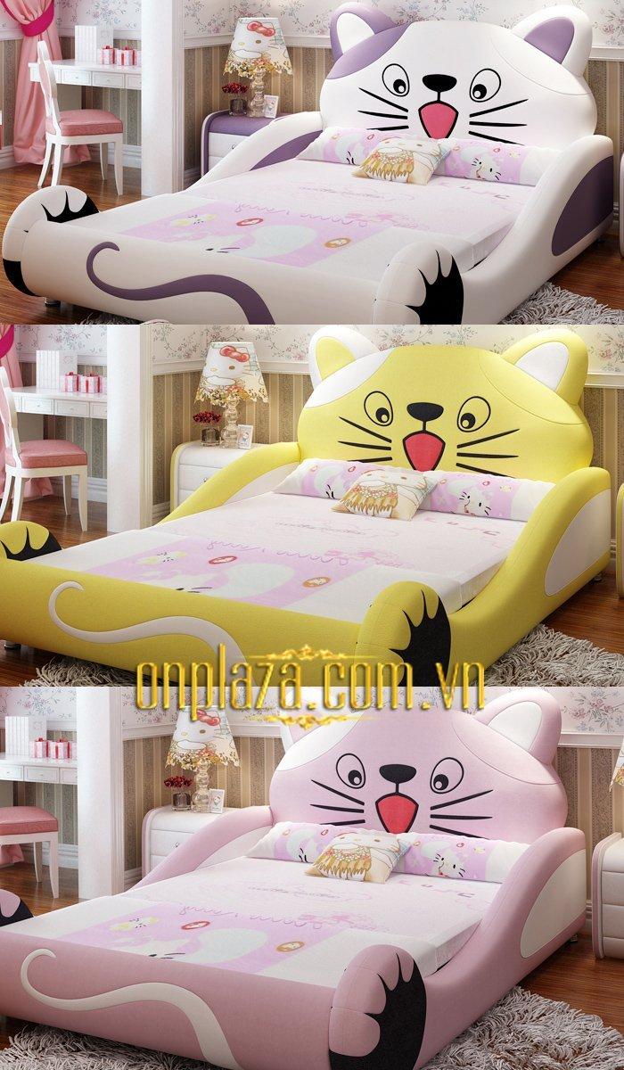 Giường ngủ cho bé đẹp cao cấp hình chú mèo hello kitty 5