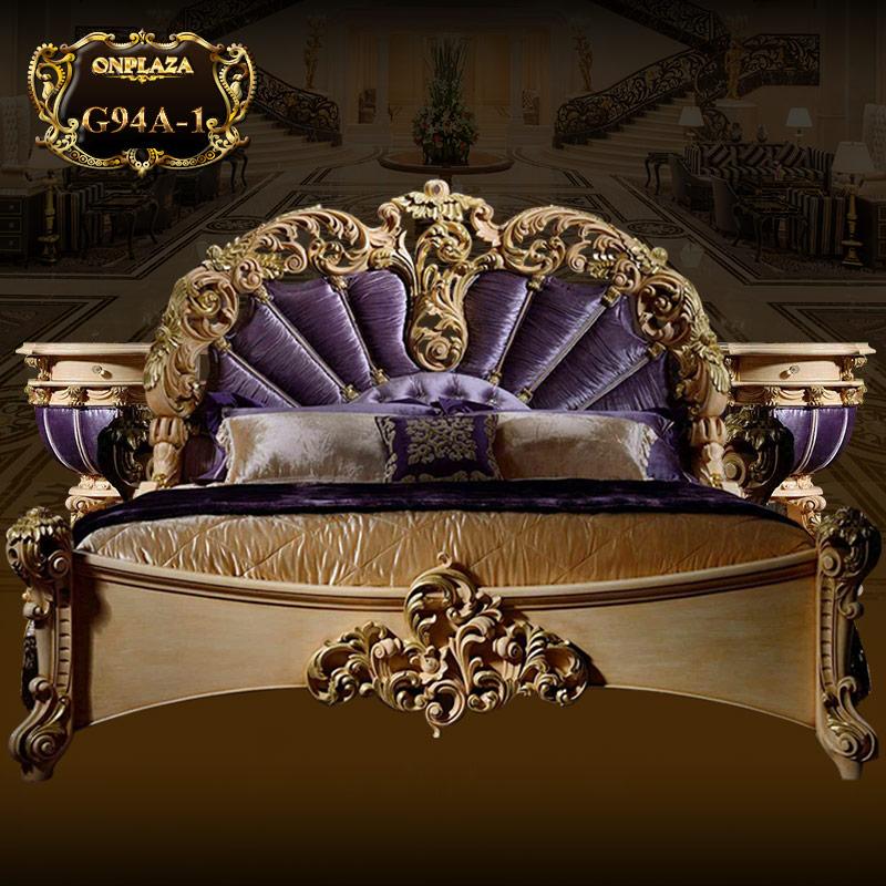 Bộ giường gỗ phong cách cổ điển cao cấp hoàng gia G94A