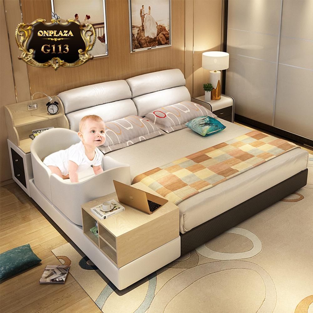 Giường ngủ bọc da kết hợp nôi cho bé G113