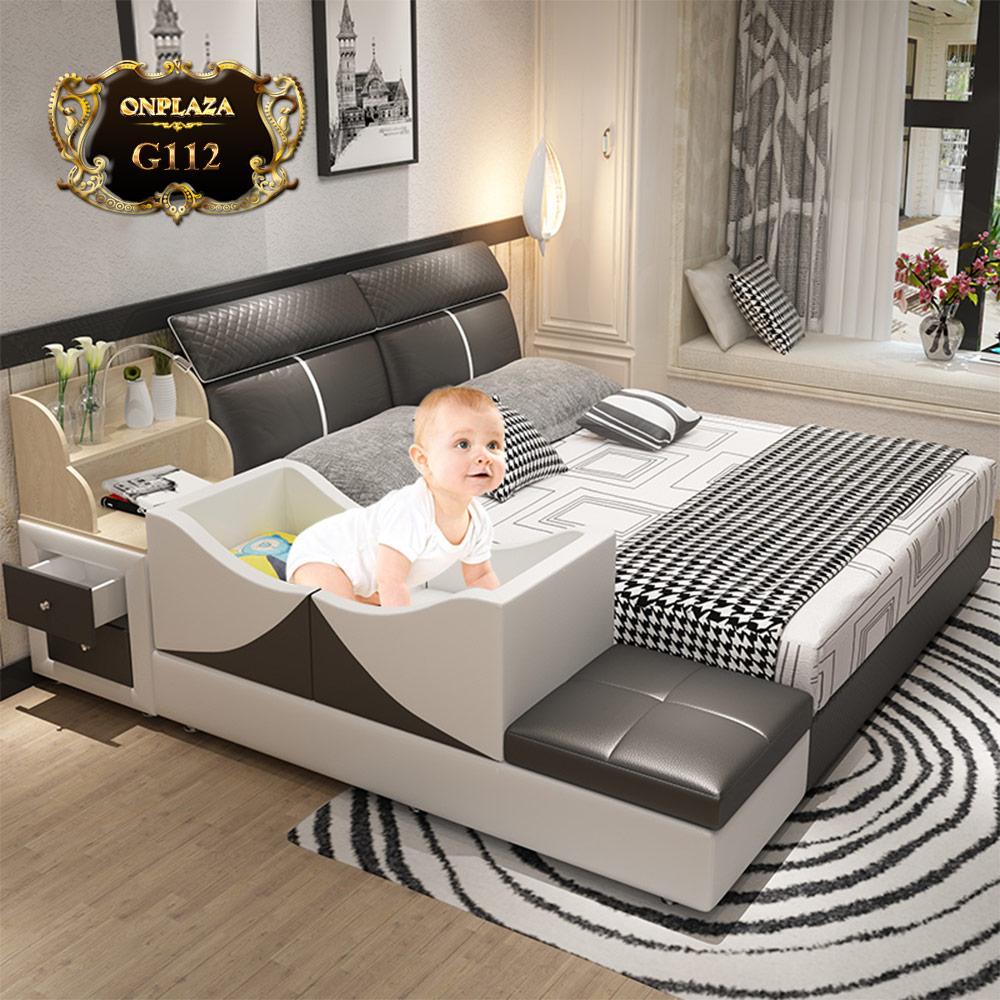 Giường ngủ đa năng bọc da kết hợp nôi cho bé G112