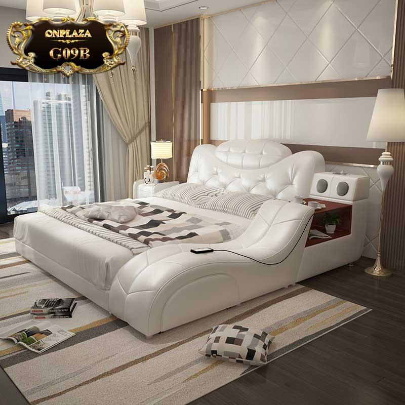 Mẫu giường tiện ích đa năng bọc da G09