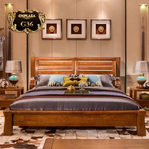 Giường ngủ gỗ sồi đẹp thiết kế đơn giản hiện đại G36