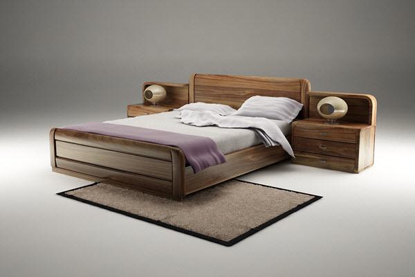 Giường ngủ gỗ óc chó đẹp sang trọng
