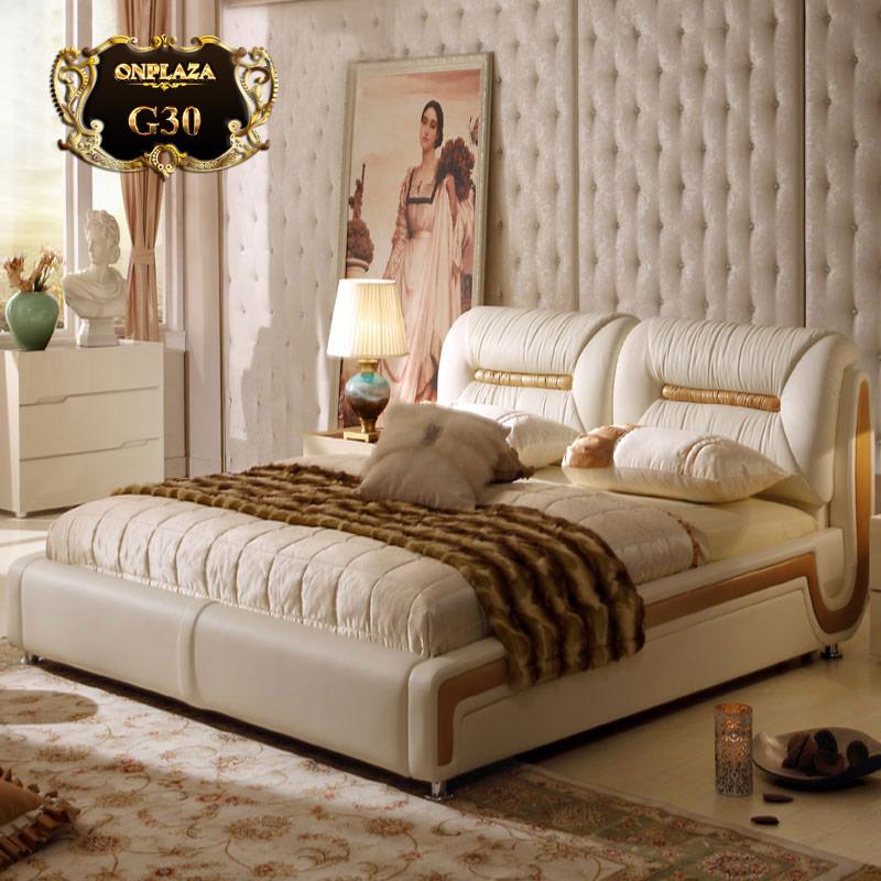 Mẫu giường ngủ bọc da cao cấp